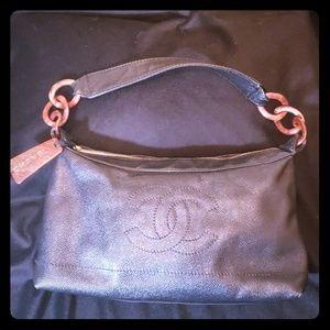 Authentic Black Chanel CC Wood Chain Caviar Bag